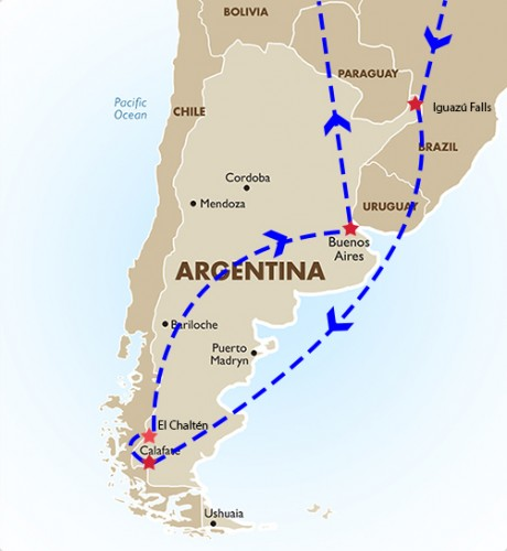 Map of Argentina - Itinerary
